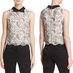 ALICE & OLIVIA Manie Bow Collar Embellish Crop Top
